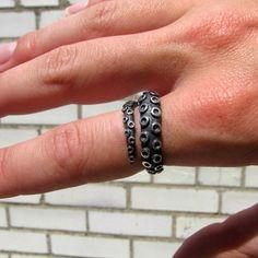 Octopus Tentacle Ring Dark Sterling Silver by SilverPhantomJewelry