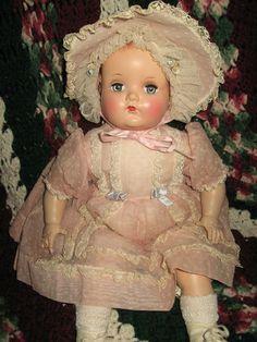 ~ Composition Madame Alexander 'So-Lite' Baby Doll ~ Antique Dolls, Vintage Dolls, Child Doll, Baby Dolls, New Dolls, Dolls Dolls, Vintage Madame Alexander Dolls, Pink Doll, Bride Dolls