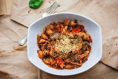 Vegan Lentil Bolognese, combined with roasted red pepper and a homemade marinara this dish is easy, delicious, and everyone will love it!