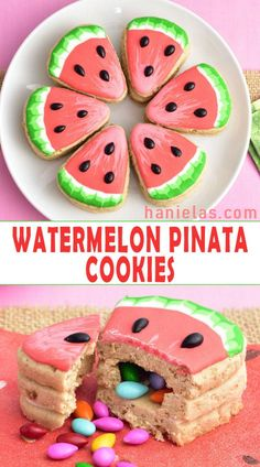Cute Watermelon Pinata Cookies decorated with royal icing are perfect for summer. - Cute Watermelon Pinata Cookies decorated with royal icing are perfect for summertime celebrations. Sugar Cookies Recipe, Royal Icing Cookies, Cookie Recipes, Dessert Recipes, Desserts, Icing Recipes, Cookie Ideas, Watermelon Cookies, Cute Watermelon