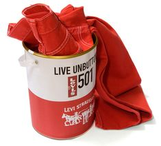 Paint can packaging for Levi's 501 designed by Be Trade.