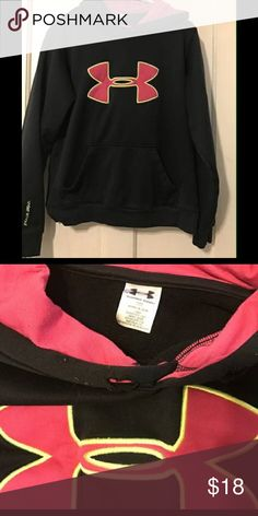 Girls Under Armour Sweatshirt It is a size medium, color is black and pink, has a snag in the front, and cut at the neck, mint condition, No holes or stains! Under Armour Shirts & Tops Sweatshirts & Hoodies