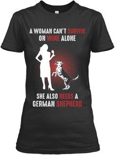 Women Survive Wine With German Shepherd Black T-Shirt Front German Shepherd Facts, German Shepherd Training, German Shepherd Puppies, Woman Wine, Mom Shirts, Mens Tops, T Shirt, Black, Women