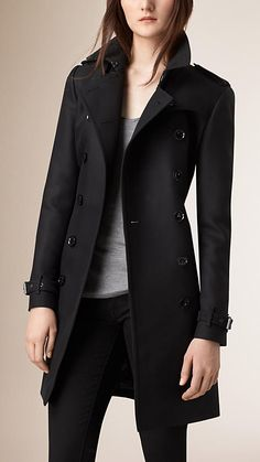 Black Cotton Wool Blend Twill Trench Coat - Image 1