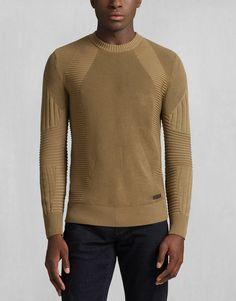 Belstaff - Kallen Crewneck Sweater - Slate Green (love the details in the knit pattern)
