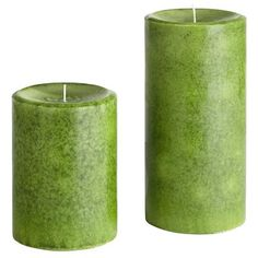 Great for a summer green themed bathroom -- Verbena Pillars -- Crisp, lemon-scented verbena leaves, geranium, Italian lemon oil and a hint of bois de rose— in pretty, hand-poured candles sized to fit your favorite holders.