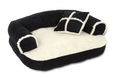 """Perfect for cats and extra small dogs. Sleep surface measures 13"""" X 12""""  Sofa bed measures 20-inch length by 16-inch width  The sleep surface & decorative trim are a stylish sherpa fleece with suede bolster & gusset  A non-skid bottom keeps the bed in place & Machine washable for easy care"""
