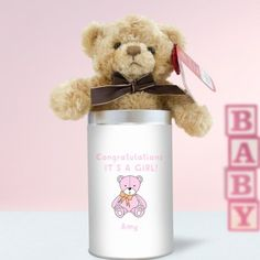 Personalised Teddy in a Tin - It's a Girl