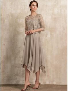JJsHouse A-Line Scoop Neck Tea-Length Chiffon Lace Mother of the Bride Dress With Bow(s) Mother Of The Bride Dresses Long, Mother Of Bride Outfits, Mothers Dresses, Dress With Bow, Lace Dress, Chiffon Dress, Vestidos Mob, Bride Groom Dress, Mob Dresses