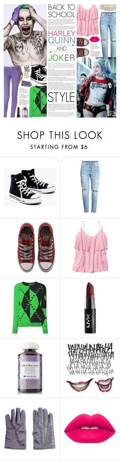"""Back to School: Ms. Quinn and Ms. J"" by pauirh ❤ liked on Polyvore featuring Madewell, Converse, jared, Gap, Opening Ceremony, NYX, Origins, HUGO and Lime Crime"