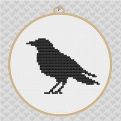 crows cross stitch | Crow Silhouette Cross Stitch PDF Pattern 001, via Etsy.