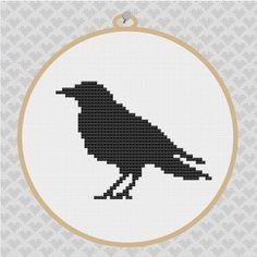 crows cross stitch   Crow Silhouette Cross Stitch PDF Pattern 001, via Etsy.