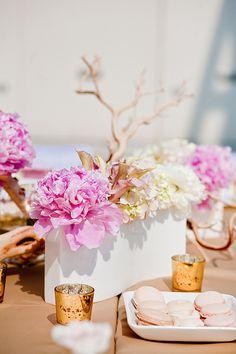 flowers + manzanita + whitelanterns.... diff flower arrangements though
