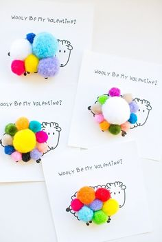 """Wooly Be My Valentine Free Printable - print out these adorable sheep cards and let kids add pom pom's on top for the """"sheep's wool."""""""