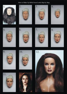 How to Make Up Barbie Doll in Bella Swan Looks Step by Step. by little dolls… Doll Repaint Tutorial, Doll Tutorial, Vintage Barbie, Ooak Dolls, Barbie Dolls, Base Model, Barbie Makeup, Bella Swan, Doll Painting