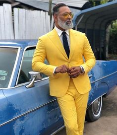 Prom For Guys, Prom Suits For Men, Mens Fashion Suits, Mens Suits, Mode Masculine, Yellow Suit, Color Yellow, Style Masculin, Slim Fit Suits