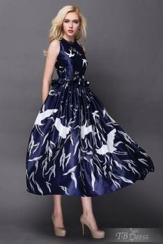 New Arrival Falbala Bird Print Maxi Dress by lidegaga