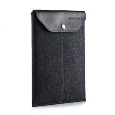 Gräf & Lantz iPad sleeve w/ leather flap charcoal. $54