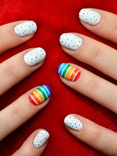 Rainbow nail art designs are very popular this season. Some women like rainbow nails. Rainbows may have different meanings in one's life. If you also like rainbow nails, lo Cute Nail Art, Easy Nail Art, Nail Polish Designs, Cute Nail Designs, Accent Nails, Rainbow Nail Art Designs, Nagel Hacks, Polka Dot Nails, Polka Dots