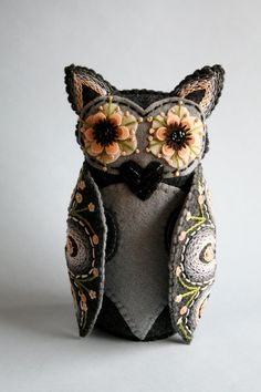 Owl Doll- Embroidered Felt- Mexican Folk Art- Hoot by Calaveras and Corazones