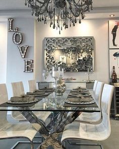 Dining Room Decor - Get the Modern Dining Room Furniture For Your Home Dining Room Table Decor, Dining Room Walls, Room Wall Decor, Deco Table, Dining Room Design, Dining Room Furniture, Interior Design Living Room, Furniture Design, Luxury Dining Room