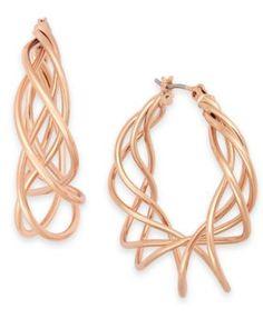 Charter Club Rose Gold-Tone Spiral Hoop Earrings