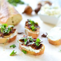 Fig, bacon and honey-goat cheese crostini - perfect little bites for summer cook outs and parties!