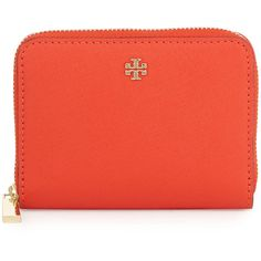 Tory Burch Robinson Zip Coin Case (180 CAD) ❤ liked on Polyvore featuring bags, wallets, poppy red, red wallet, zipper coin purse, coin purse, tory burch wallet and zip-around wallet