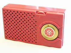 Vintage General Electric 5-Transistor Radio, Mode 677 (Red), GEs First Commerically Produced Transistor Radio, Made in the USA, 1955.