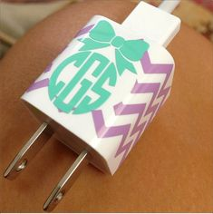 Monogram iPhone Charger Decal Sticker  Wrap in by MEEsDesigns, $4.25