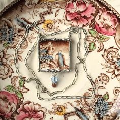 Broken china jewelry necklace antique aesthetic brown transferware blue birds made from a broken plate