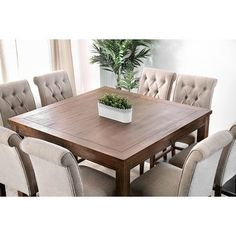 Shop for Furniture of America Fons Rustic Oak Solid Wood Dining Set. Get free delivery On EVERYTHING* Overstock - Your Online Furniture Shop! Oak Dining Sets, Dining Table Price, Counter Height Dining Table, 7 Piece Dining Set, Square Dining Tables, Solid Wood Dining Table, Dining Room Sets, 8 Seater Dining Table, Wood Counter