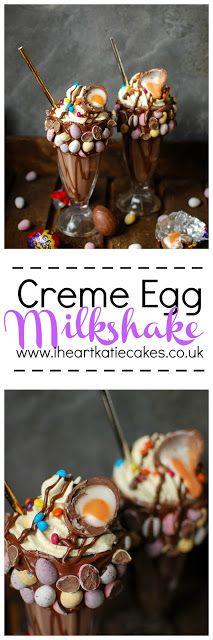 Creme Egg Milkshakes   Katiecakes Crazy Shakes, Yummy Drinks, Yummy Food, Chocolate Ice Cream, Alcohol Chocolate, Creme Egg, Milkshake Recipes, Gluten Free Chocolate, Easter Treats