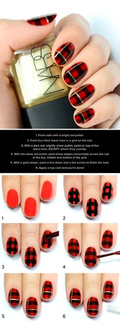 Black, Red and Metallic Gold Plaid Print Nail Tutorial - you could use this traditional pattern on all your nails or as an accent nail pattern leaving the other nails the base bright red colour - Please click for 14 other Christmas-Inspired DIY Nail Art Tutorials from GleamItUp #manicure...x