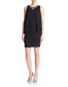 Brands | New Arrivals | Embellished Layered Shift Dress | Lord and Taylor