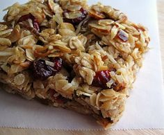 Kari's Cooking: Homemade Granola Bars. I used this recipe, but I traded the things I don't like for things I do like. It turned out great, but she isn't kidding about using parchment paper... you will end up with granola if you don't use it... not that I would know or anything... ;)