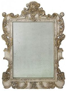 Wall Mirror Antique Reproduction Distressed Gold Blue Gray Painted Wood N CW-834