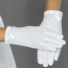 First Communion Gloves White Knit Nylon with Ribbon Bow - Communion Gloves - Girls Wrist Length First Holy Communion gloves First Communion Gloves, Cold Weather Gloves, Communion Dresses, Christening Gifts, White Girls, Ribbon Bows, Designer, Clothes For Women, Knitting