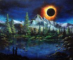 Eclipse Romance - oil on canvas Oil On Canvas, Romance, Graphic Design, Digital, Drawings, Artwork, Painting, Sketches, Romances