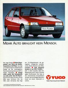 Yugo Florida Turin, Europe Car, Car Brochure, Florida, Car Drawings, Fiat 500, Bosch, Old Cars, Vintage Posters