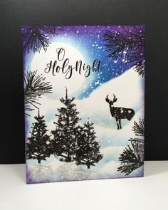Prancer, Nature's Gifts: Penny Black, OLC, one layer card, winter, by beesmom at splitcoa