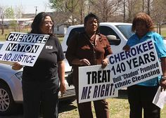 """Black Cherokee Freedmen protested their expulsion from Cherokee Nation on Sept. 2, 2011 in Muskogee, Oklahoma. In 1860, the Cherokee Nation owned over 4,600 slaves. In February of 1863 the Cherokee Nation declared that all slaves within its limits were """"forever free."""" In 1983, the Cherokee Nation removed descendants of those slaves, known as the Cherokee Freedmen, from tribal membership rolls and prohibited from voting in Cherokee elections. Fed. judge Thomas F. Hogan to issue decision in…"""