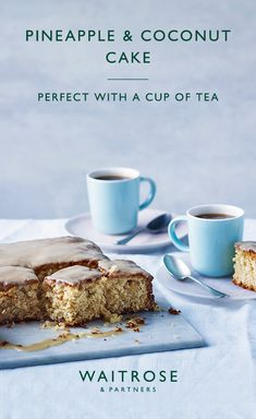 Eat the season with our pineapple and coconut cake. Top with sticky coconut glaze and finish with dessicated coconut. Tap to see the full Waitrose & Partners recipe. Baking Recipes, Cake Recipes, Dessert Recipes, Pasta Recipes, Waitrose Food, Delicious Desserts, Yummy Food, Tray Bakes, No Bake Cake