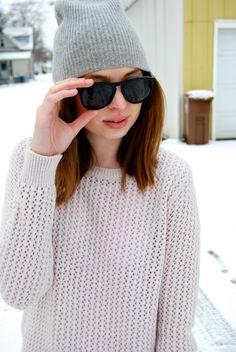 Emily of Dear Serendipity wearing Griffin sunglasses in Jet Black Matte