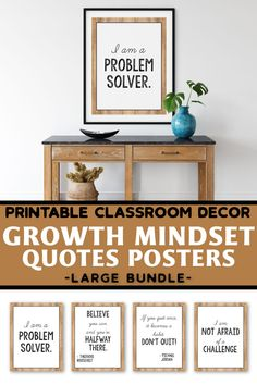 These growth mindset posters for kids and teachers will look great in your rustic or farmhouse themed classroom decor. They will help you add a little something to your lessons for preschool, kindergarten, first grade (1st grade), elementary and middle school.A great alternative to the old banner or pennant, this display of affirmations and quotes for students will help them set goals and learn the difference between fixed vs growth mindset.These farmhouse decorations can be hung by the… Preschool Kindergarten, Classroom Activities, Classroom Decor, Quotes For Students, Quotes For Kids, Growth Mindset Posters, Setting Goals, Quote Posters, Positive Attitude