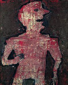 Personnage rouge cerne de bleu 1953 Jean Dubuffet