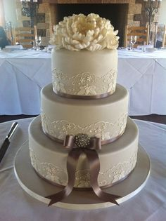 Piped wedding cake with peonie - by Paul Delaney @ CakesDecor.com - cake decorating website