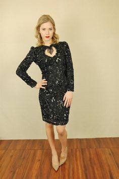 Vtg 80s Blk Floral Beaded Sequin Glam Flapper Party Cocktail Mini Deco Dress S | eBay