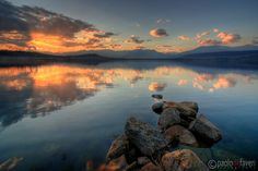 Floating rocks at sunset #2 - Viverone Lake, Piedmont, Italy   Landscape Photography by Paolo De Faveri