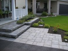 Designing a front yard is usually about accessibility and invitation. We spend hardly any time in the front yard as […] Front Driveway Ideas, Front Walkway Landscaping, Driveway Design, Front Steps, Backyard Landscaping, Landscaping Ideas, Driveway Gate, Fence Ideas, Front Entrances